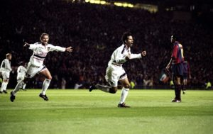 16 Sep 1998: Ryan Giggs of Manchester United celebrates a goal during the Champions League match against Barcelona at Old Trafford in Manchester, England. The game ended in a draw 3-3. Mandatory Credit: Clive Brunskill /Allsport
